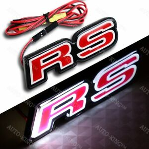Red Rs Front Hood Grille Badge Emblem Led Light For Chevrolet Camaro Ford Focus