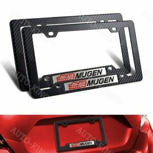 Mugen Car Emblem W Carbon Look Abs License Plate Tag Frame For Honda Civic 2pcs