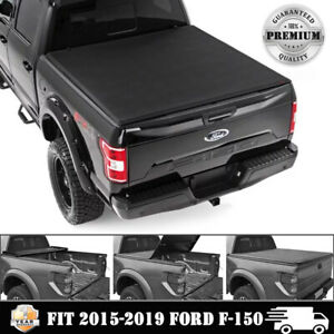 New Tri Fold Fits 2015 2019 Ford F150 5 5 Ft Tonneau Bed Cover Soft Free Seal