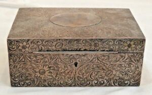 Antique Sterling Silver Box With Etched Flower Details Hallmarked S