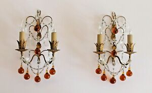 Pair Vintage Italian Gilt Metal Sconces Amber Murano Drops Rock Crystals Antique