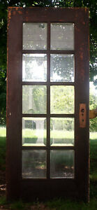 34 X80 Antique Vintage Oak Wood Exterior Entry French Door 10 Window Glass Lite