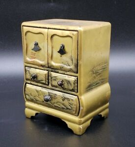 Antique Japanese Gold Lacquer On Wood Miniature Cabinet With 5 Drawers