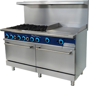 Blue Air Commercial Kitchen 6 Burner Range With 24 Griddle