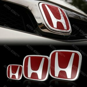 Red Front Rear Steeriing Jdm Emblem Set For 2012 2013 Civic Si Coupe 2dr