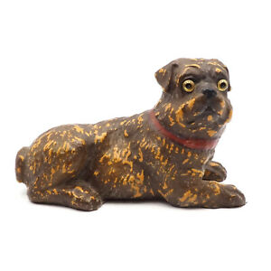 Antique Victorian Composition Eye Pug Dog Figurine German Or Austrian Pottery