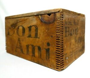 Early 20th C Vint Bon Ami Soap Ny Finger Jointed Wood Box Crate Blk Ink Stamping