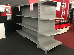 Metal Gondola Shelving Gray Listing For Single sided 4 X 6 Complete Section