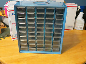 Vintage 50 Drawer Akro Mils Blue Metal Small Parts Storage Organizer