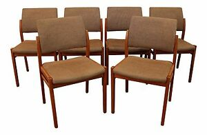 Set Of 6 Mid Century Danish Modern Svegards Markaryd Teak Side Dining Chairs