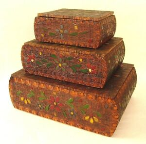 3 Antique Folk Art Pyrography Wood Boxes Trinket Storage Stacking Hand Painted