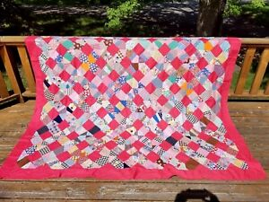 Vintage 1950 S Hand Pieced Cotton Feedsack Fabric Quilt Top 88 X 68 To Finish