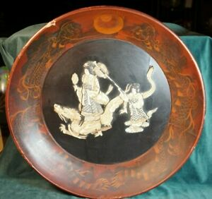 Antique Asian Wooden Bowl Huanghuali With Dragon And Mother Of Pearl Geisha