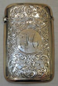 Antique Birmingham England Sterling Silver Card Case