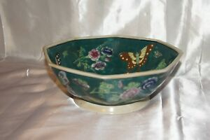Green Chinese Footed Bowl With Butterflies