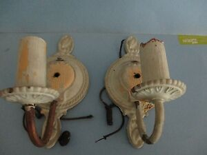 Pair Of 1920 S Moe Bridges Signed Art Deco Brass And Iron Wall Sconces 32169