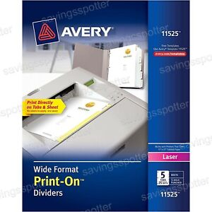 Avery Wide Format Print on Dividers 5 Tabs 25 Sets White 3 Hole Punched Laser