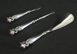 Antique Sterling Foster Bailey Vanity 3 Set Buttonhook Shoehorn Knife 1890