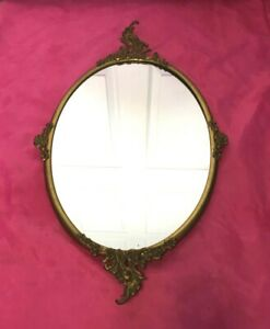Antique Victorian Ornate Rococo Style Solid Brass Framed Oval Mirror Nice