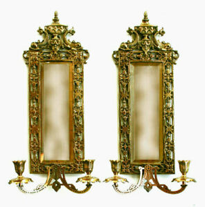Antique Brass Plated Sconces Presumably Bradley And Hubbard