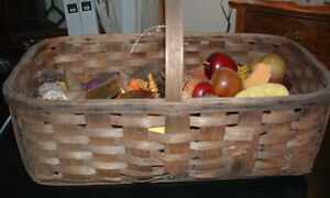 Old Oak Basket Market Or Gathering Basket