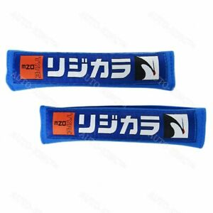 X2 Jdm Spoon Sports Type One Embroidery Seat Belt Cover Shoulder Strap Pads Blue