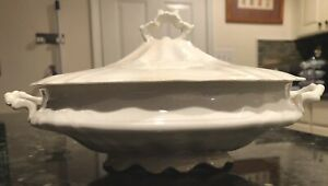 Extremely Rare Antique Early 19th C White Ironstone Lidded Soup Tureen Crazed