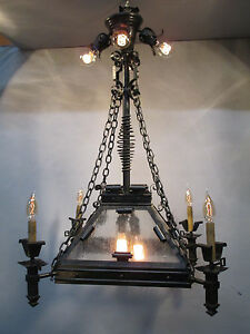 Vintage Antique Hand Wrought Gothic A C Gas Electric Chandelier Converted 39 L