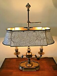 Vintage French Bouillotte 2 Light Off White Brown Tole Brass Table Desk Lamp