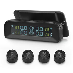 Solar Car Tpms Wireless Tire Pressure Monitor System Real Time 4 External Sensor