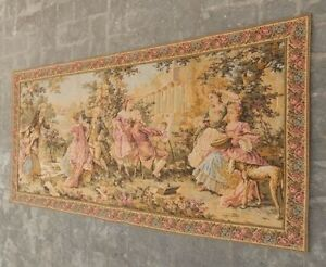 Vintage French Beautiful Party Feast And Painting Scene Tapestry 162x82cm A914