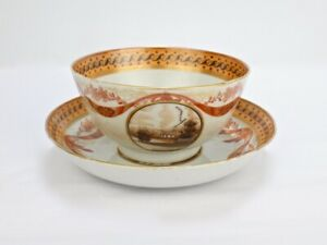 Antique 18c American Market Chinese Export Cup And Saucer Ex Elinor Gordon Pc