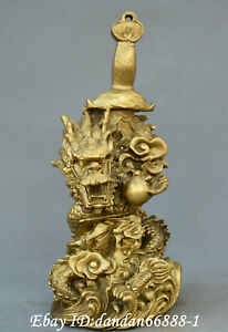 Chinese Fengshui Old Bronze Carve Fortune Dragon Sword Make Fortune Statue