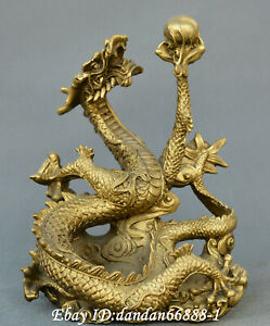 Chinese Fengshui Old Bronze Carve Fortune Dragon Play Beads Auspicious Statue