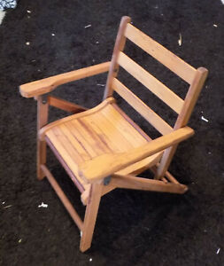 1940s Antique Childs Wood Folding Chair Slat Seat Collectible Furniture