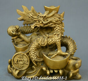 Chinese Fengshui Old Bronze Animal Dragon Fortune Yuanbao Dragon Wealth Statue