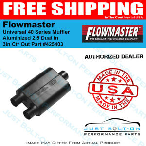 Flowmaster Universal 40 Series Muffler Aluminized 2 5 Dual In 3in Ctr Out 425403