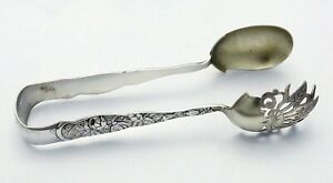 Knowles Bug Or Rose Sterling Ice Tongs 7 No Mono