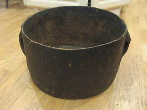 Large Rare Antique Hand Carved Wood Pot Bowl 2 Handled Old Repairs Primitive