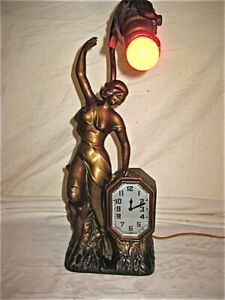 Antique Art Nouveau Faux Bronze Figural Woman Schadow Sons Ingraham Clock Lamp