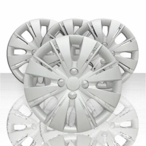 Set Of 4 15 8 Split Spoke Wheel Covers For 2012 2015 Toyota Yaris Silver