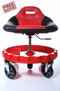 Mechanics Creeper Seat Roller Work Stool Tools Tray Garage Auto Shop Chair Duty
