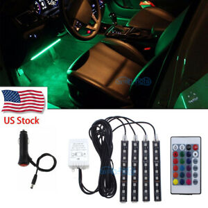 4x Rgb Smart Led Interior Under Dash Footwell Accent Light Remote Control Us
