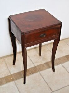 Vintage Hepplewhite Chippendale Solid Mahogany Small 1 Drawer Side Table