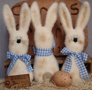 Primitive Easter Cream Bunny Blue Gingham Bow Bowl Fillers Ornies