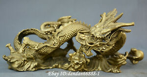 Collect Chinese Fengshui Old Bronze Auspicious Dragon Dragon Play Beads Statue