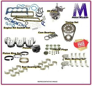 Engine Rebuild Overhaul Kit Chevy Gm Truck 350 Pistons Rings Bearings Oil Pump