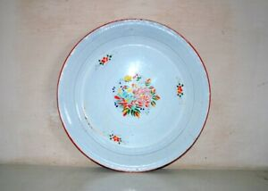 Antique Old Multi Color Floral Islamic Enamel Serving Plate Plate