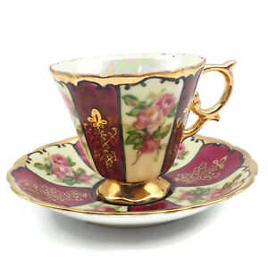 Vintage Estate Royal Sealy China Rose Pattern Cup And Saucer Set