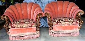 Matching Pair 2 Of Antique Clamshell Victorian Era Parlor Pub Chairs